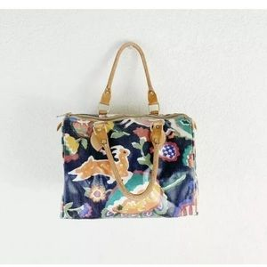 Floral Boston Doctor Bag Leather Coated Canvas